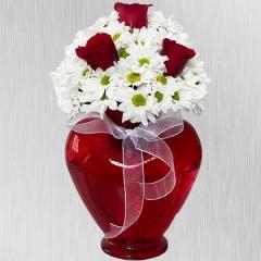 Kalpli Vazoda Papatyalı 3 Gül